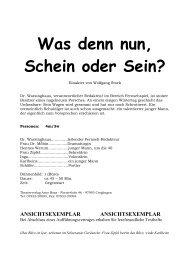 Was denn nun, Schein oder Sein? - Theaterverlag Arno Boas