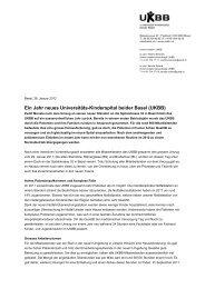Ein Jahr neues Universitäts-Kinderspital beider Basel (UKBB)