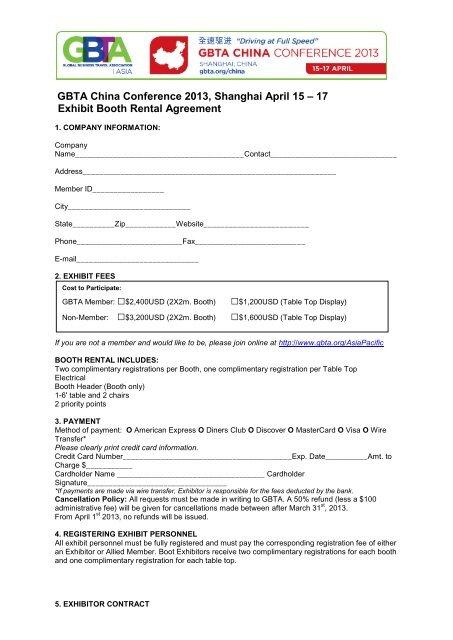 Exhibit Booth Rental Agreement