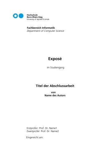Vorlage_Exposé_2011_05_31 - Fachbereich Informatik