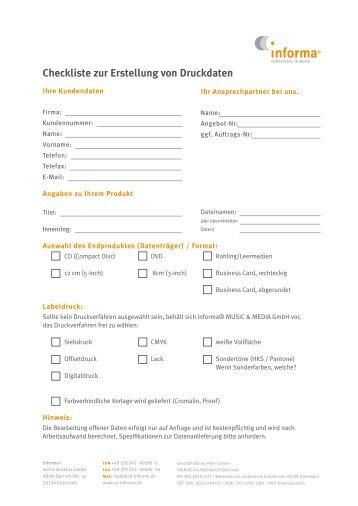 Checkliste zur Erstellung von Druckdaten - Cd-Informa