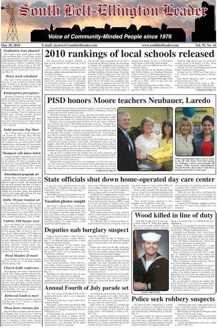 2010 Rankings Of Local Schools Released South Belt Ellington Leader
