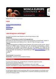 Inhalt: Liebe Kolleginnen und Kollegen! - WONCA Europe 2012