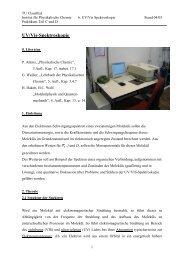 UV/Vis-Spektroskopie - Institut für Physikalische Chemie