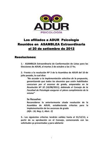 Los afiliados a ADUR Psicología Reunidos en ASAMBLEA ...