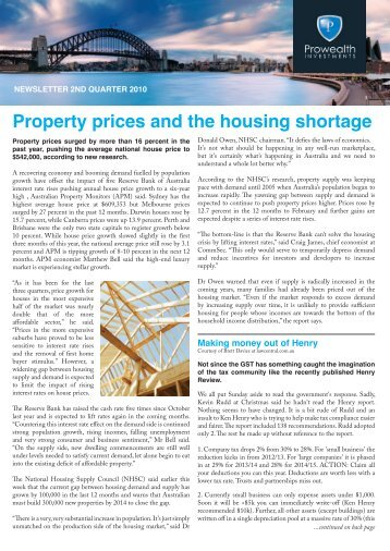 Property prices and the housing shortage - Prowealth