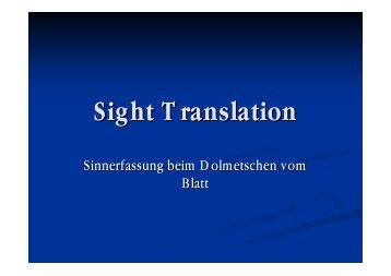Sight Translation - Translation Concepts