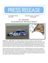 RJ Valentine Ferrari/Maserati 400 Race Report