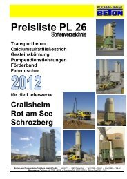 Preisliste PL 26 - Kocher-Jagst Transportbeton GmbH & Co. KG