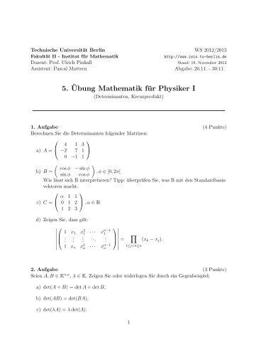 5. ¨Ubung Mathematik für Physiker I - TU Berlin
