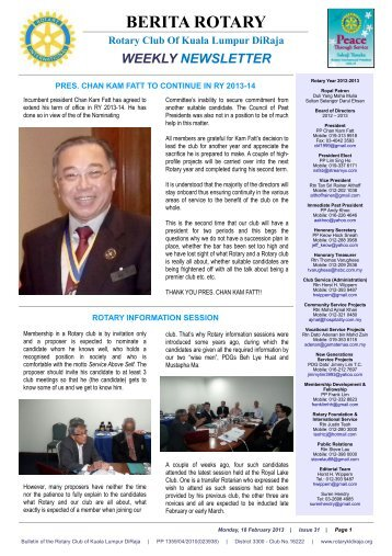 pres. chan kam fatt to continue in ry 2013-14 - Rotary Club of