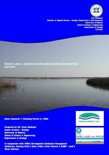 reedy lake – surface/ ground water interaction report - Corangamite ...