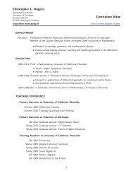 CV - Mathematisches Institut - GWDG