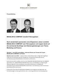 BIESALSKI & COMPANY erweitert Führungsteam Nach zweieinhalb ...