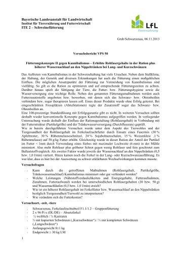 Fütterungskonzepte II gegen Kannibalismus - Bayerische ...
