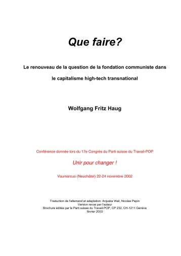 Que faire? - Wolfgang Fritz Haug