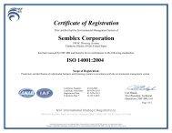 Certificate of Registration Semblex Corporation ISO 14001:2004