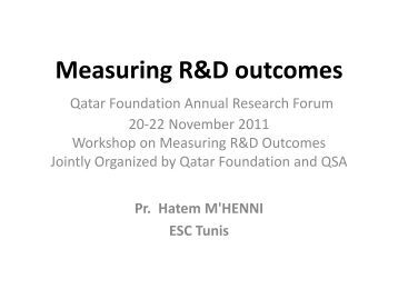 Measuring R&D outcomes
