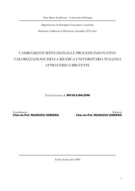 Valorizzazione Della Ricerca Universitaria Italiana Attraverso I Brevetti