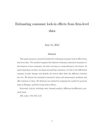 Estimating consumer lock&in effects from firm&level data