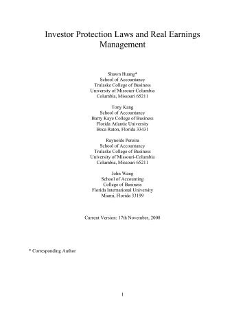 Investor Protection Laws and Real Earnings Management