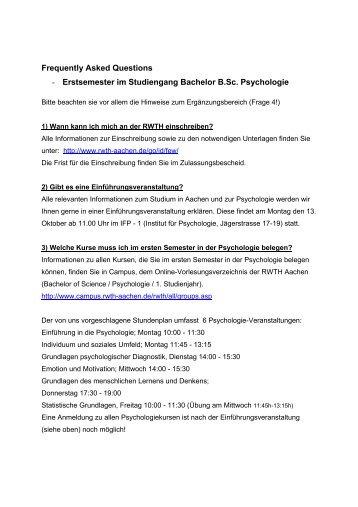 Erstsemester im Studiengang Bachelor B.Sc. Psychologie