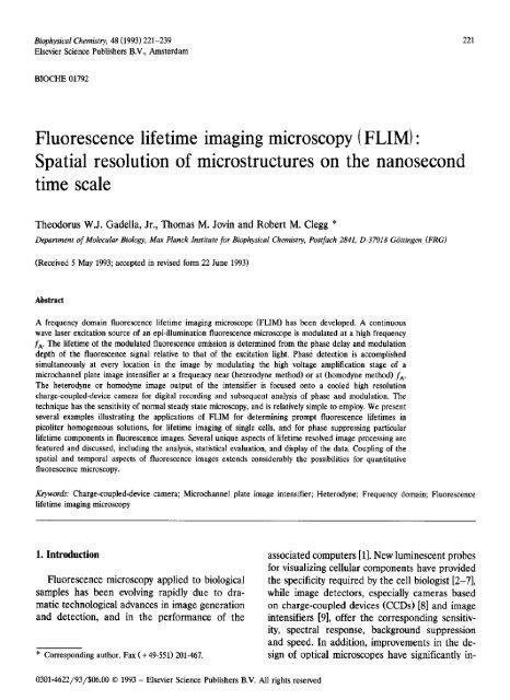 Fluorescence Lifetime Imaging Microscopy Flim