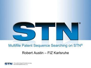 Multifile Patent Sequence Searching on STN - STN International
