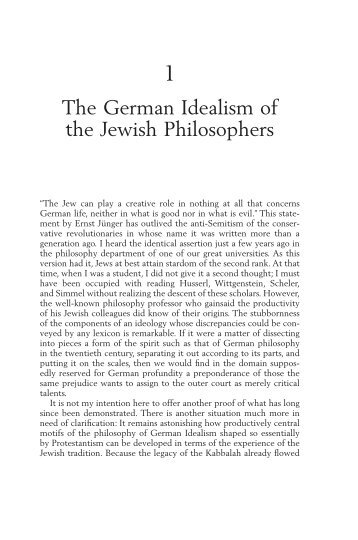 The German Idealism of the Jewish Philosophers - Polity