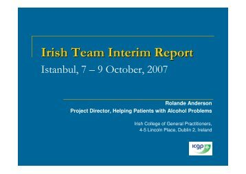Country Report Ireland Dr. Rolande Anderson - PHEPA