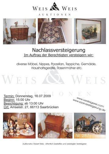 Nachlassversteigerung - Weis und Weis Auktionen GmbH