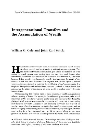 Intergenerational Transfers and the Accumulation ... - Thomas Piketty