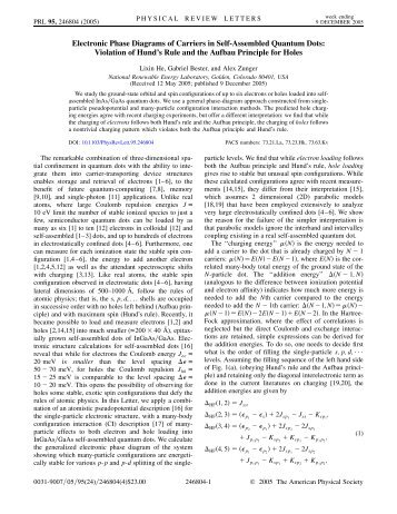Electronic Phase Diagrams of Carriers in Self-Assembled Quantum ...