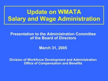 Update On WMATA Salary And Wage Administration - WMATA.com