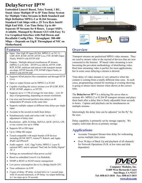 DelayServer IP -- Time Delay Server - Dveo com