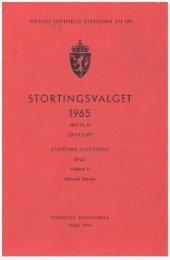 Stortingsvalget 1965. Hefte II Oversikt - Statistisk sentralbyrå