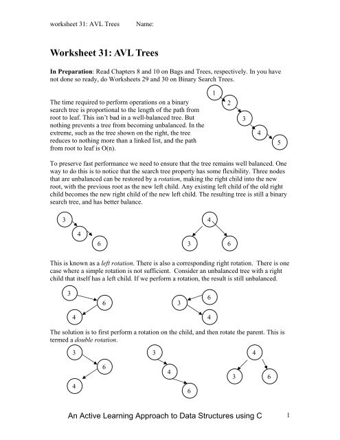 Worksheet 31: AVL Trees - Classes