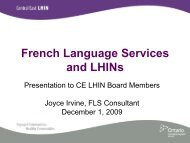French Language Services and LHINs - Central East Local Health ...