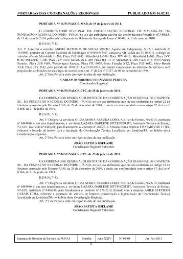 portarias das coordenações regionais publicado em 16.02.11 - Funai