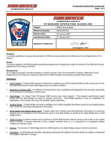 STANDARD OPERATING GUIDELINE - Albemarle County