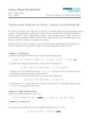 Mathematische Methoden der Physik - Aufgaben zur Selbstkontrolle