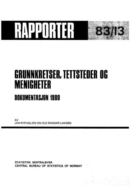 grunnkretser, tettsteder og menigheter dokumentasjon 1980 - SSB