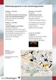 Rahmenprogramm in der Schwörtagswoche - Tourismus Reutlingen