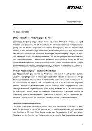 15. September 2009 STIHL setzt auf neue Produkte gegen
