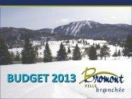 BUDGET 2013 - Ville de Bromont