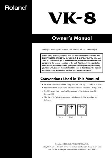 Read the Roland VK-8 Owner's Manual - Sweetwater.com