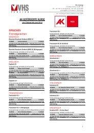 Liste aller AK-geförderten Kurse an der VHS Penzing