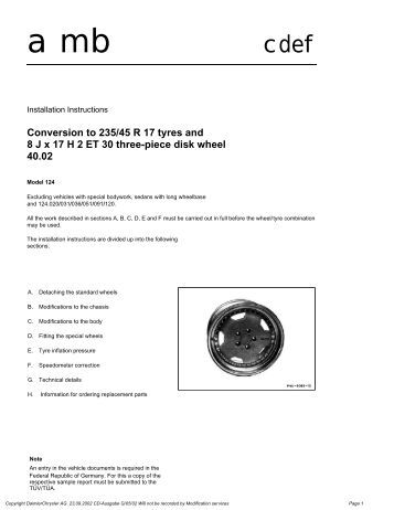 Conversion to 235/45 R 17 tyres and 8 J x 17 H 2 ET 30 ... - w-124.info