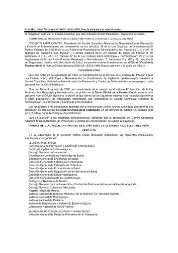 NORMA Oficial Mexicana NOM-031-SSA2-1999, Para la atención a ...