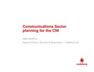 Communications Sector planning for the CNI - RUSI